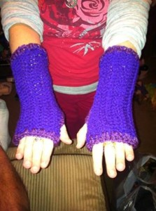 sparkling purple faerie fingerless gloves