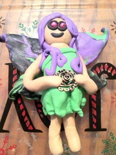 spring faery doll made with sculpey clay
